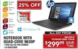 "PC Richard & Son Black Friday: HP 15.6"" Laptop: AMD A10, 4GB RAM, 500GB HDD, Win 10 for $299.99"