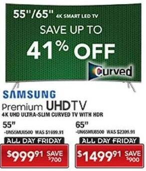 """PC Richard & Son Black Friday: 65"""" Samsung 4K UHD Smart Curved TV with HDR for $1,499.91"""