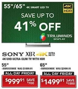 "PC Richard & Son Black Friday: 55"" Sony XBR 4K Smart TV with HDR for $999.91"