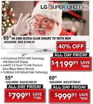 "PC Richard & Son Black Friday: 60"" LG 60SJ8000 4K Super UHD Smart TV with HDR for $999.91"