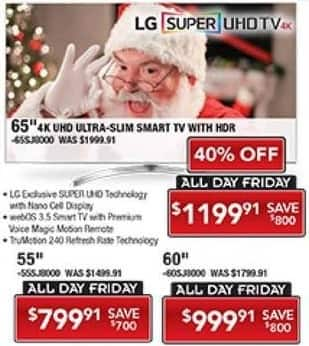 "PC Richard & Son Black Friday: 55"" LG 55SJ8000 4K Super UHD Smart TV with HDR for $799.91"