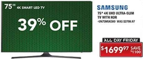 "PC Richard & Son Black Friday: 75"" Samsung UN75MU6300 4K UHD Ultra Slim TV with HDR for $1,699.97"