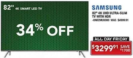 "PC Richard & Son Black Friday: 82"" Samsung 4K UHD Ultra Slim TV with HDR for $3,299.91"
