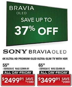 "PC Richard & Son Black Friday: 65"" Sony Bravia 4K Ultra HD OLED TV with HDR for $3,499.91"
