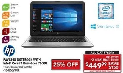 "PC Richard & Son Black Friday: HP 15.6"" Pavilion Notebook: Intel i7, 8GB RAM, 1TB HDD, Win 10 for $449.99"