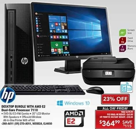 "PC Richard & Son Black Friday: HP Desktop Bundle with AMD E2 7110, 4GB RAM, 1TB HDD + 20"" LCD Monitor + OfficeJet Wireless All-In-One Printer for $364.99 after $45.00 rebate"
