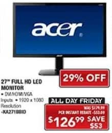 "PC Richard & Son Black Friday: 27"" Acer LED Monitor for $126.99"
