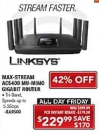 PC Richard & Son Black Friday: Linksys Max-Stream aC5400 MU-MIMO Gigabit Router for $229.99
