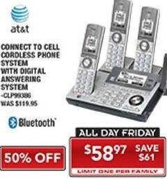 PC Richard & Son Black Friday: AT&T Connect To Cell Cordless Phone System with Digital Answering Macihine for $58.97