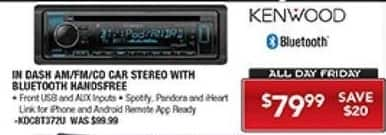PC Richard & Son Black Friday: Kenwood In Dash AM/FM/CD Car Stereo with Bluetooth Handsfree for $79.99