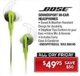 PC Richard & Son Black Friday: Bose Soundsport In-Ear Headphones for $49.95