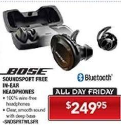 PC Richard & Son Black Friday: Bose Soundsport Free In-Ear Bluetooth Headphones for $249.95