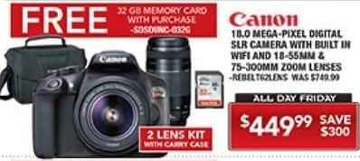 PC Richard & Son Black Friday: Canon Rebel T6 18.0 Megapixel DSLR Camera with Built-In WiFi + 18-55mm & 75-300mm Zoom Lenses, 32GB Memory and Case for $449.99