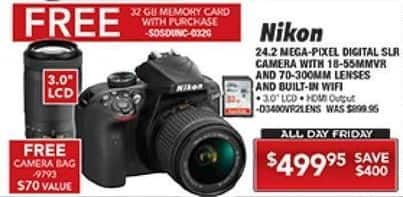 PC Richard & Son Black Friday: Nikon D3400 DSLR Camera with 18-55mm and 75-300mm Lenses + Free 32GB Memory Card and Camera Bag for $499.95