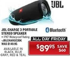 PC Richard & Son Black Friday: JBL Charge 3 Portable Bluetooth Speaker for $89.95