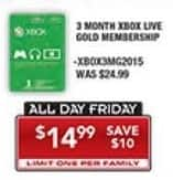 PC Richard & Son Black Friday: Xbox Live Gold 3 Month Subscription for $14.99