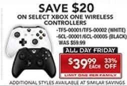 PC Richard & Son Black Friday: Xbox One Wireless Controllers, Select Styles for $39.99