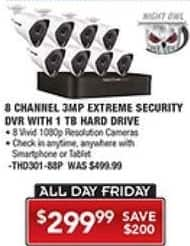 PC Richard & Son Black Friday: Night Owl 8 Channel 3MP Extreme Security DVR with 1TB Hard Drive for $299.99