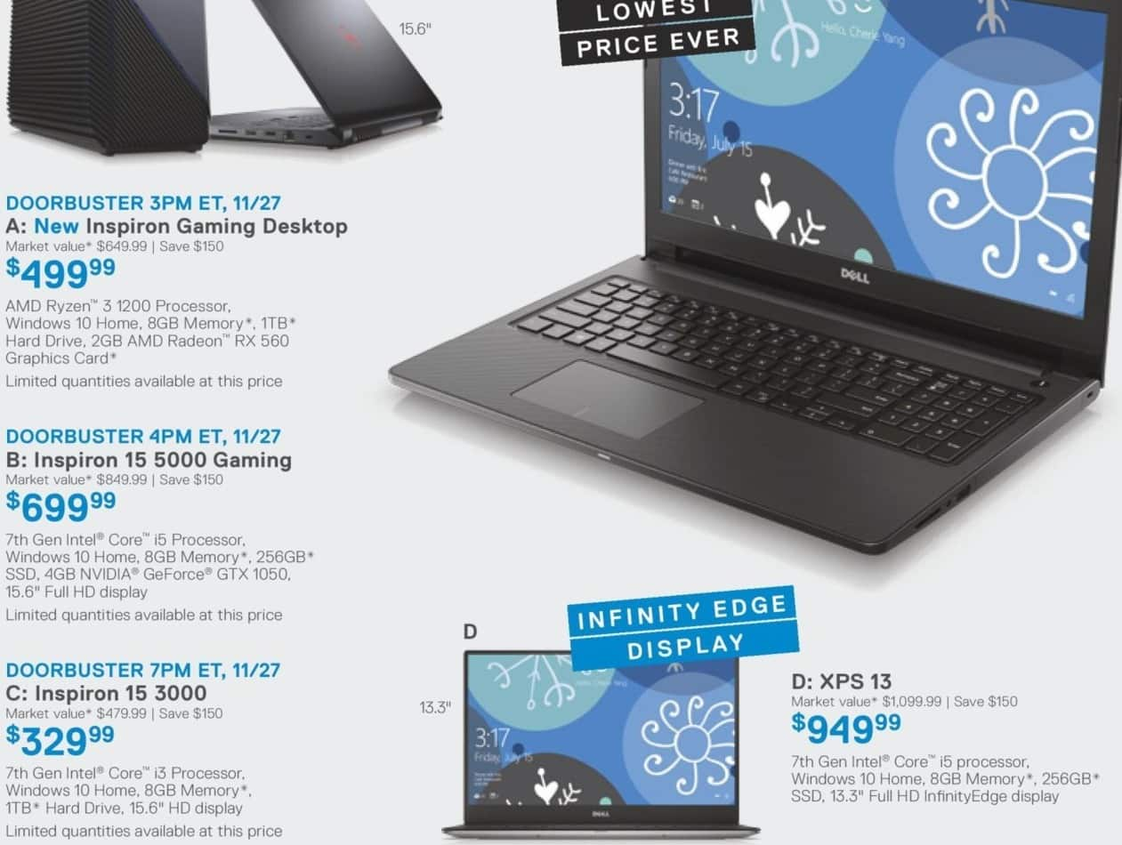 "Dell Home & Office Cyber Monday: 15.6"" Dell Inspiron 15 3000 7th Gen. Laptop w/ i3, 8GB RAM,1TB HDD, Win10 for $329.99"