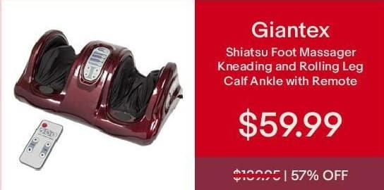 eBay Cyber Monday: Giantex Shiatsu Foot Massager Kneading and Rolling Leg Calf Ankle w/Remote Red Burgundy for $59.99