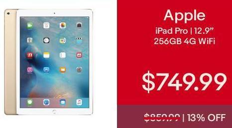 "eBay Cyber Monday: 256GB Apple iPad Pro 12.9"" 4G+WiFi for $749.99"