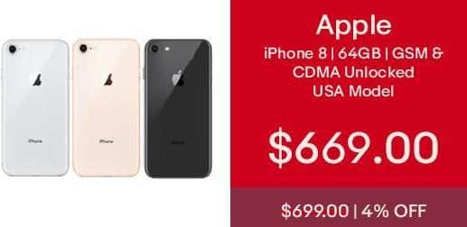 eBay Cyber Monday: 64gb Apple iPhone 8 GSM & CDMA UNLOCKED-USA Model-Apple Warranty-BRAND NEW for $669.00