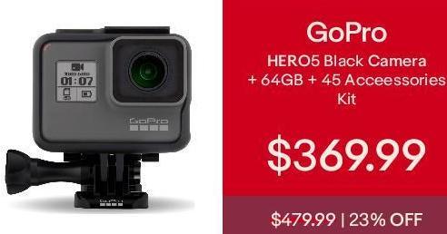 eBay Cyber Monday: GoPro HERO5 Black Camera +64GB + 45 Accessories Kit! for $369.99