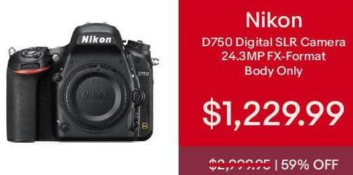 eBay Cyber Monday: Nikon D750 Digital SLR Camera Body 24.3MP FX-format Brand New for $1,229.99