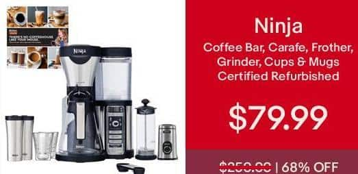 eBay Cyber Monday: Ninja Coffee Bar, Carafe, Frother, Grinder, Cups & Mugs (Certified Refurbished) for $79.99