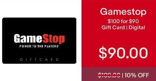 eBay Cyber Monday: Gamestop $100 Gift Card (Digital) for $90.00