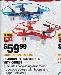 Home Depot Black Friday: Quadron Racing Drones with Obstacle Course for $59.99