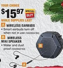 Home Depot Black Friday: Wireless Earbuds or Wireless Mini Speaker for $15.97
