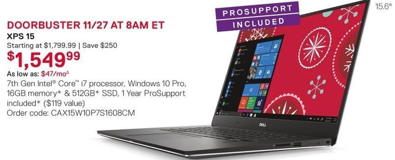 Dell Small Business Cyber Monday: Dell XPS 15 Laptp: Intel i7 (7th Gen), 16GB RAM, 512 SSD, Win 10 Pro for $1,549.99