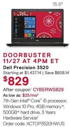 Dell Small Business Cyber Monday: Dell Precision 3520 Laptop: Intel i5 (7th Gen), 4GB RAM, 500GB HDD, Win 10 Pro for $829.00