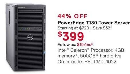 Dell Small Business Cyber Monday: Dell PowerEdge T130 Tower Server for $399.00
