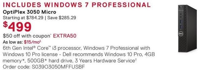 Dell Small Business Cyber Monday: Dell OptiPlex 3050 Micro Desktop: Intel i3 (6th Gen), 4GB RAM, 500GB HDD, Win 7 Pro with Win 10 Pro License for $499.00