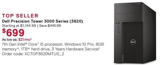 Dell Small Business Cyber Monday: Dell Precision 3620 Tower: Intel i5 (7th Gen), 8GR RAM, 1TB HDD, Win 10 Pro for $699.00