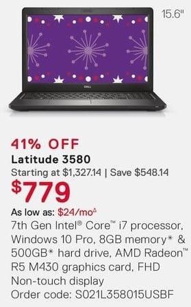 Dell Small Business Cyber Monday: Dell Latitude 3580 Laptop: Intel i7 (7th Gen), 8GB RAM, 500GB HDD for $779.00