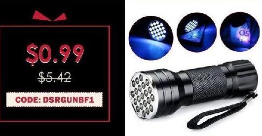 Rosegal Cyber Monday: 21 LED Aluminium Alloy UV Flashlight for $0.99