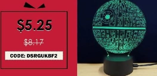 Rosegal Cyber Monday: M.Sparkling Creative 3D LED Lamp The Death Star Shape Table Lamp for $5.25