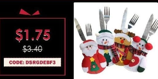 Rosegal Cyber Monday: 4pcs Santa Claus Snowman Elk Knife and Fork Storage Bag Christmas Decoration for $1.75