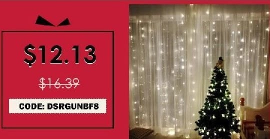 Rosegal Cyber Monday: 3M*3M 8-modes 304pcs-Lights Light String White Lights Decorative Lights for $12.13