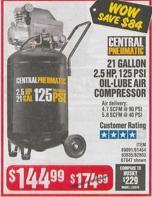 Harbor Freight Black Friday: Central Pneumatic 21 Gallon 2 5 HP, 125