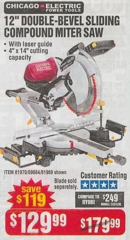Harbor Freight Black Friday Chicago Electric 12 Double Bevel Sliding Compound Miter Saw For