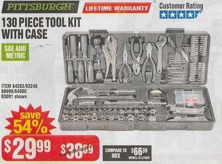 Harbor Freight Black Friday: Pittsburgh 130 Piece Tool Kit