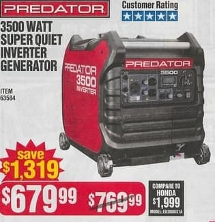 Harbor Freight Black Friday: Predator 3500 Watt Super Outlet