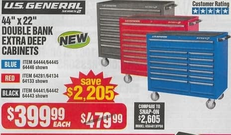 Harbor Freight Black Friday Us General 44 X 22 Double Bank Extra