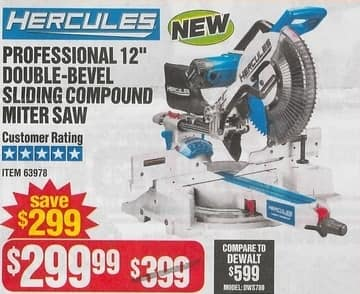Harbor Freight Black Friday Hercules Professional 12 Double Bevel