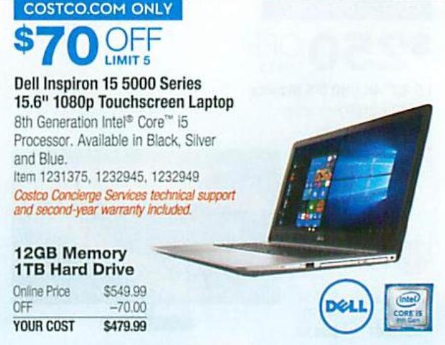 Costco Wholesale Black Friday: Dell Inspiron 15 5000 Series