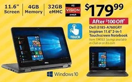 BJs Wholesale Black Friday: Dell Inspiron I3185-A760GRY 11 6